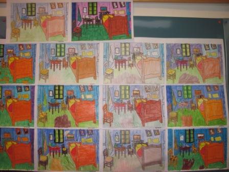 12. Pannello 2 con stanze di Van Gogh colorate con pastelli, pennarelli, pastelli a cera.