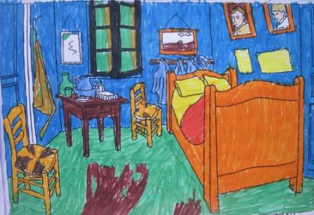 14. Tecnica Espressionista coloritura con pennarelli de La stanza di V. Van Gogh (formato A4)