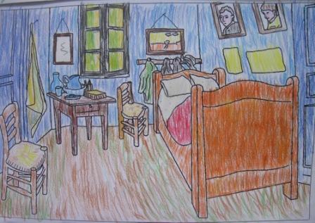 15. Tecnica Espressionista. Coloritura con pastelli de La stanza di V. Van Gogh (formato A4)