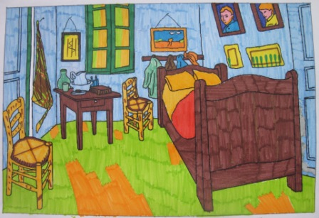16. Tecnica Espressionista. Coloritura con pennarelli de La stanza di V. Van Gogh (formato A4)