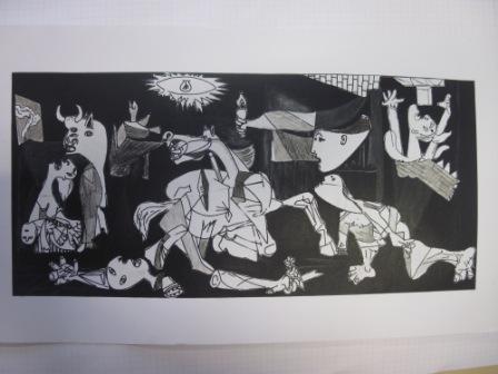 20. Copia de La Guernica di P. Picasso. Collage e chiaroscuro su sfondo nero 73x33cm