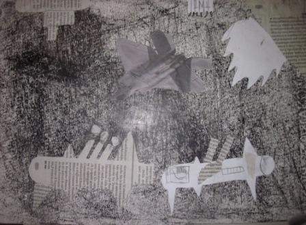 22. Tavola di un alunno in stile Guernica. Collage e chiaroscuro su sfondo nero o grigio