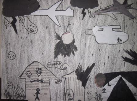 23. Tavola di un alunno in stile Guernica. Collage e chiaroscuro su sfondo nero o grigio