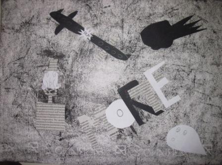 24. Tavola di un alunno in stile Guernica. Collage e chiaroscuro su sfondo nero o grigio