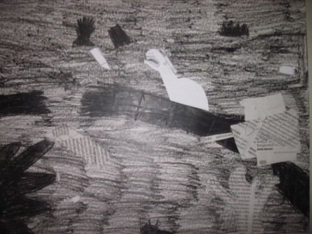 25. Tavola di un alunno in stile Guernica. Collage e chiaroscuro su sfondo nero o grigio