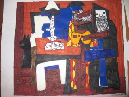 33. Tavola di un alunno copia de I musicanti di P.Picasso. Collage + coloritura a pennarello.