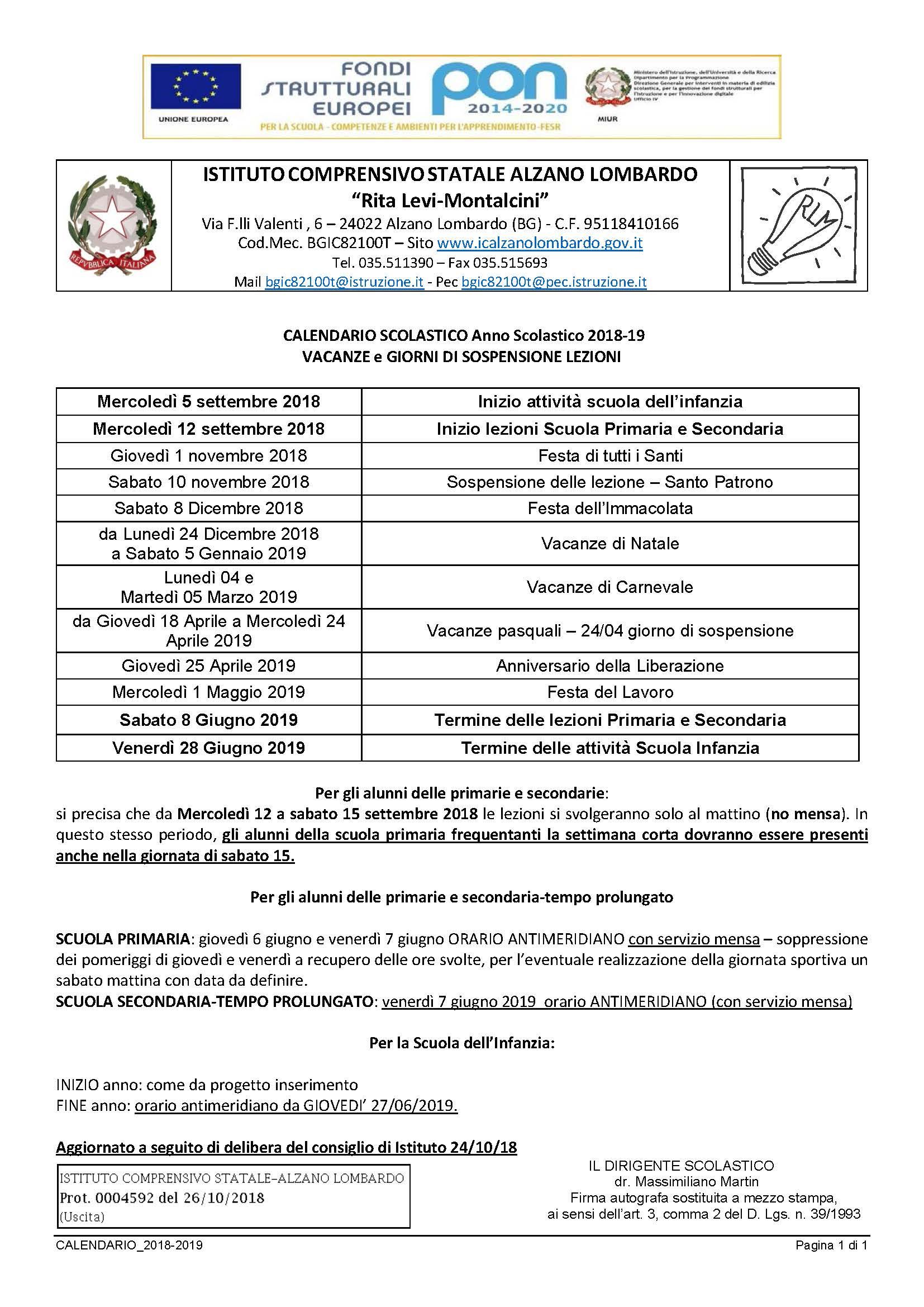 Calendario Scolastico Lombardia 2020 20.Calendario Scolastico Istituto Comprensivo Rita Levi