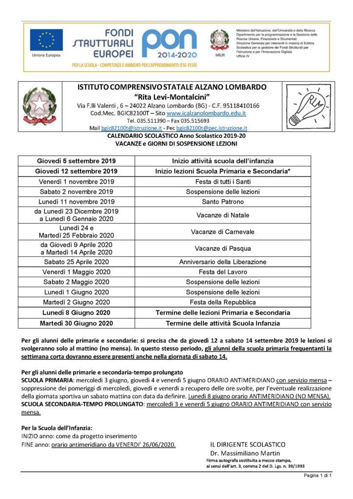 Calendario Scolastico 2020 Lombardia.Calendario Scolastico Istituto Comprensivo Rita Levi