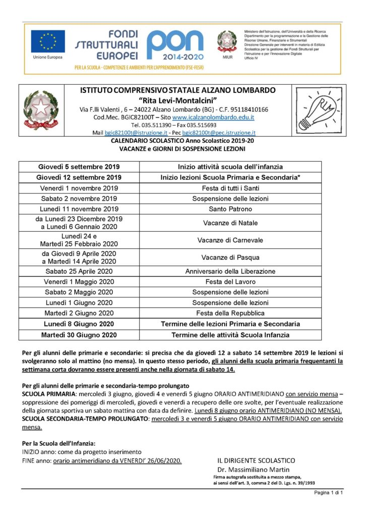 Miur Calendario Scolastico.Calendario Scolastico Istituto Comprensivo Rita Levi